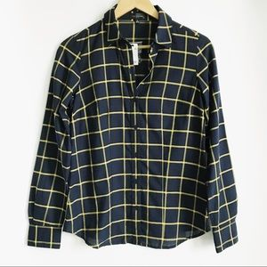 THE LIMITED Navy / Yellow Plaid Button Down Top